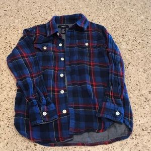 GAP boys lined Button Down plaid shirt